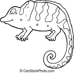 black and white cartoon chameleon