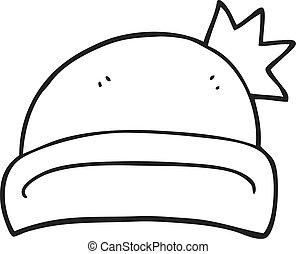 black and white cartoon christmas hat