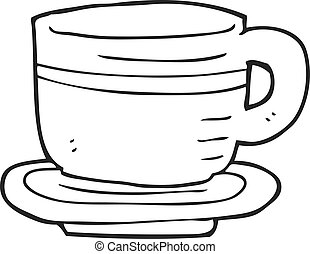 black and white cartoon cup and saucer - freehand drawn...