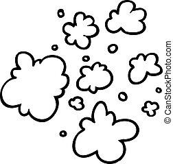 black and white cartoon decorative smoke puff elements