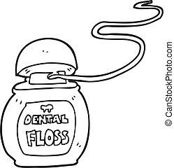 Black And White Cartoon Dental Floss