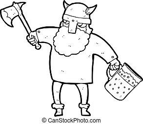 black and white cartoon drunk viking