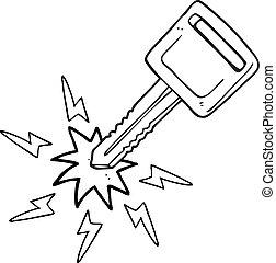 black and white cartoon electric car key