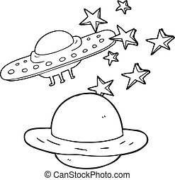 black and white cartoon flying saucer and planet