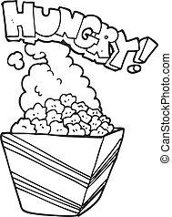 black and white cartoon fresh popcorn