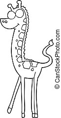 black and white cartoon giraffe