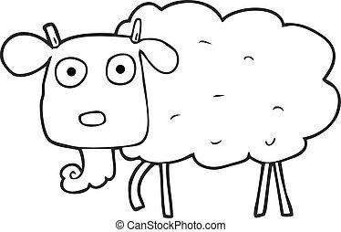 black and white cartoon goat