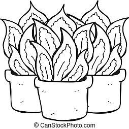 black and white cartoon house plants - freehand drawn black...