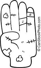 black and white cartoon injured hand