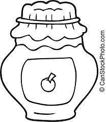 black and white cartoon jar of jam
