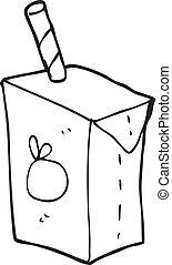 black and white cartoon juice box - freehand drawn black and...