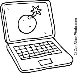black and white cartoon laptop computer with error screen