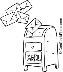 black and white cartoon mail box - freehand drawn black and ...