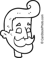 black and white cartoon man with mustache