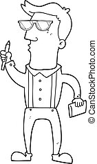 black and white cartoon man with notebook