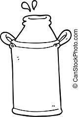 black and white cartoon milk barrel