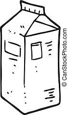 black and white cartoon milk carton