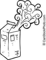 black and white cartoon milk carton exploding