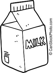 black and white cartoon milk carton - freehand drawn black...
