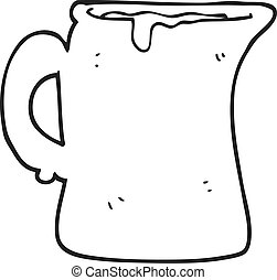 black and white cartoon milk jug