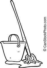 black and white cartoon mop and bucket - freehand drawn ...