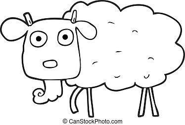 black and white cartoon muddy goat