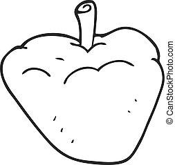 black and white cartoon organic apple - freehand drawn black...