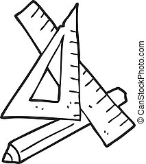 black and white cartoon pencil and ruler