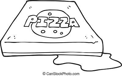 black and white cartoon pizza
