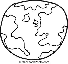 black and white cartoon planet earth