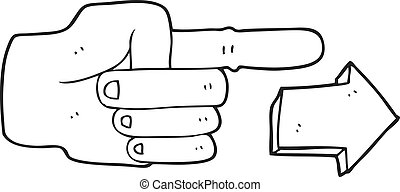 black and white cartoon pointing hand with arrow