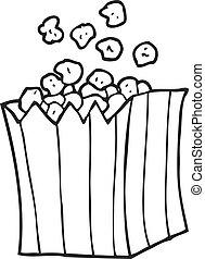 black and white cartoon popcorn