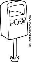 black and white cartoon post box