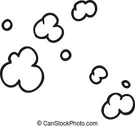 black and white cartoon puff of smoke symbol