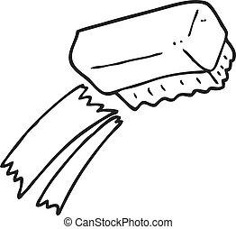 black and white cartoon scrubbing brush - freehand drawn...