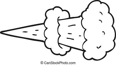 black and white cartoon smoke blast