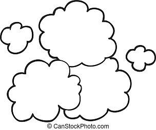black and white cartoon smoke cloud