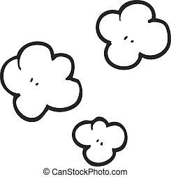black and white cartoon smoke cloud symbol