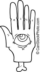 black and white cartoon spooky eye hand