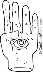black and white cartoon spooky hand with eyeball