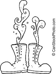 black and white cartoon steaming army boots