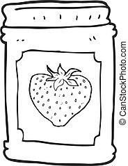 black and white cartoon strawberry jam jar