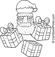 black and white cartoon tired santa claus face with presents