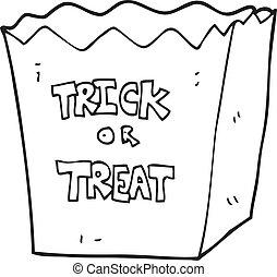 black and white cartoon trick or treat bag