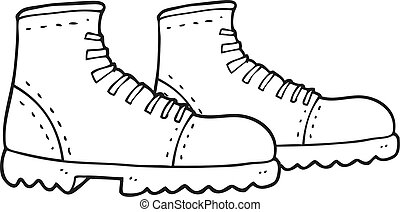 Black And White Cartoon Walking Boots