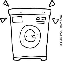 black and white cartoon washing machine