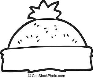 black and white cartoon winter hat