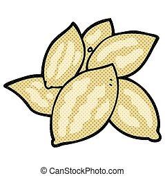 cartoon almonds - freehand drawn cartoon almonds