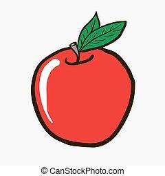 freehand drawn cartoon apple