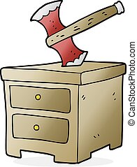 cartoon axe buried in chest of drawers - freehand drawn...